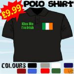 KISS ME IM IRISH ST PATRICKS DAY IRELAND T POLO SHIRT